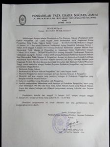 Info Pendaftaran POSBAKUM di Pengadilan Tata Usaha Negara Jambi