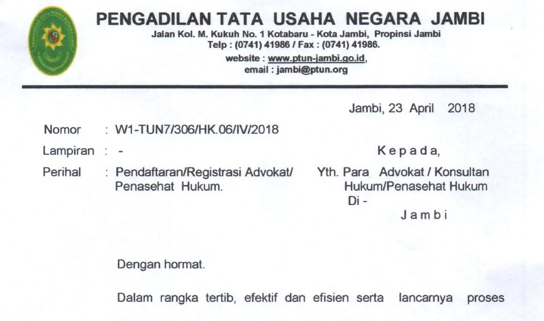 Pendaftaran/ Registrasi Advokat/ Penasehat Hukum di PTUN Jambi